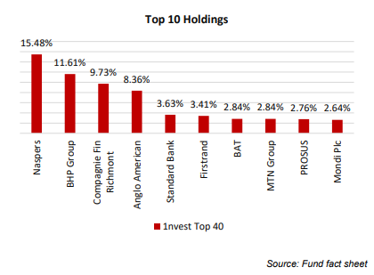 1nvest Top 40 top 10 holdings